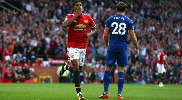 Marcus Rashford came off the bench to fire United ahead against Leicester