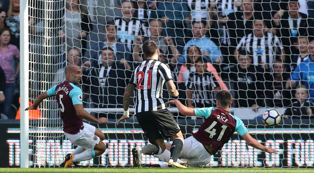 Joselu (centre) scored his first Newcastle goal against West Ham