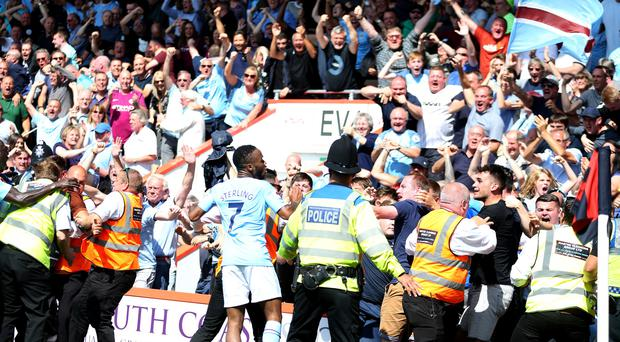 Manchester City's Raheem Sterling was sent off for celebrating his winner against Bournemouth