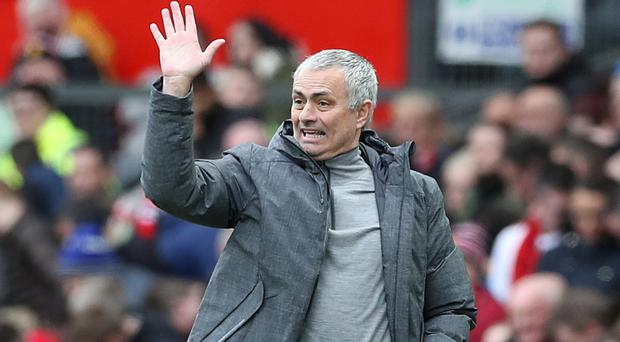Manchester United manager Jose Mourinho during the Premier League match at Old Trafford, Manchester.