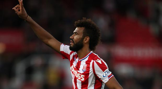 Two-goal Eric Maxim Choupo-Moting celebrates after the draw with Manchester United