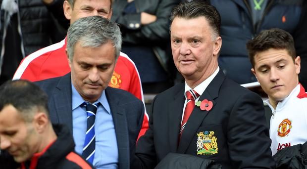 Jose Mourinho, left, believes Manchester United stagnated under David Moyes and Louis van Gaal, right
