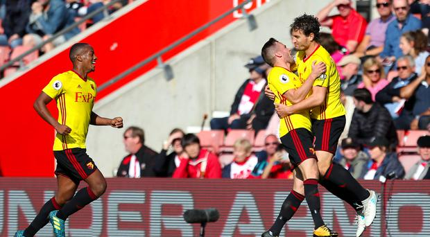 Daryl Janmaat, right, scored Watford's second goal at Southampton