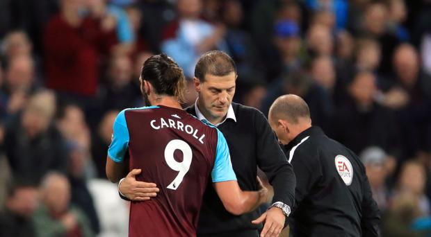 Andy Carroll returned for West Ham against Huddersfield