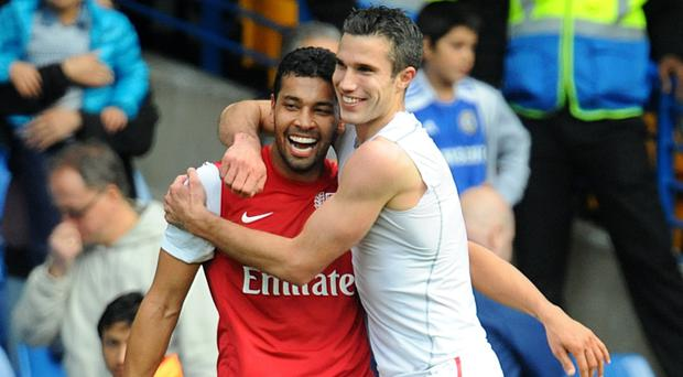 Arsenal's last win at Chelsea came courtesy of Robin van Persie, right, and Andre Santos
