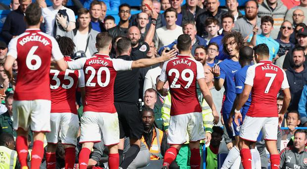 David Luiz, third right, was given his marching orders at Stamford Bridge