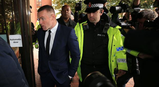 Wayne Rooney arrives at Stockport Magistrates' Court