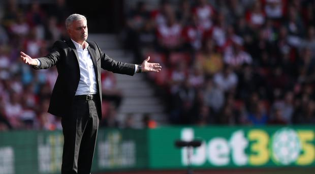 Manchester United manager Jose Mourinho was sent off in the final minutes at Southampton