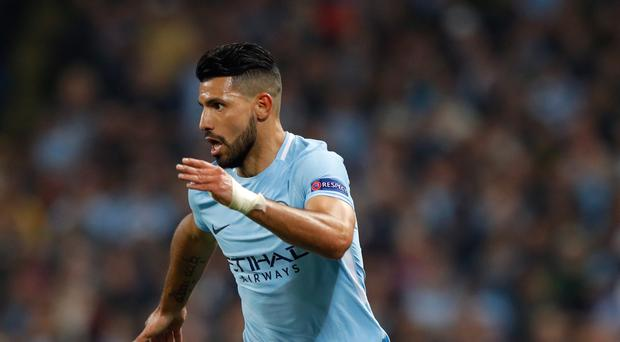 Manchester City' striker Sergio Aguero has returned to training after last month's car crash in which he injured ribs.