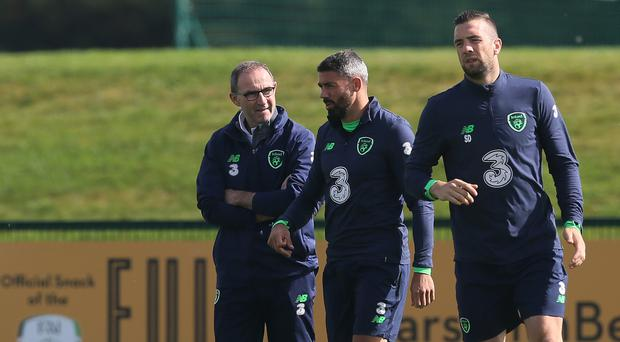 Jon Walters (centre) has not been ruled out of the Republic of Ireland's World Cup play-off next month, despite a knee injury