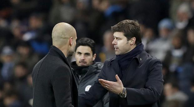 Pep Guardiola, left, claims that Mauricio Pochettino, right, had taken his words the wrong way