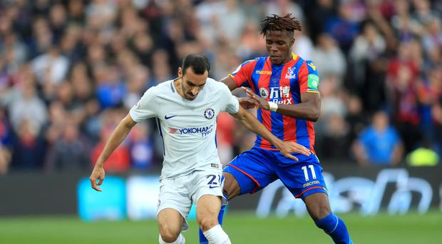 Wilfried Zaha, right, impressed for Crystal Palace against Chelsea