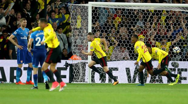 Tom Cleverley, centre, netted a late winner for Watford