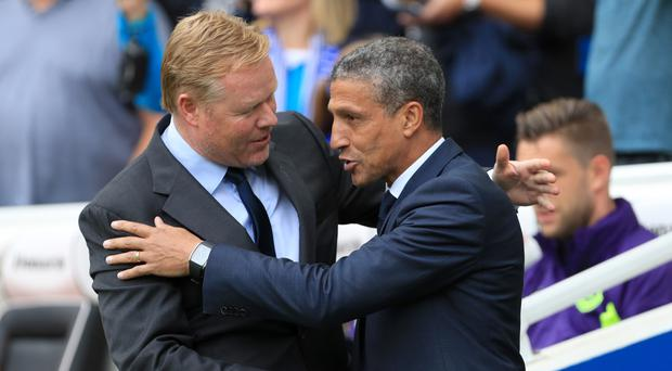 Everton's late equaliser left Ronald Koeman, left, and Chris Hughton with contrasting emotions