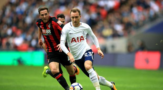 Christian Eriksen, right, scored the winner against Bournemouth on Saturday