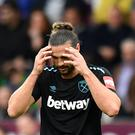 Andy Carroll was sent off at Burnley.