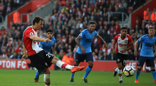 Manolo Gabbiadini (left) was on target twice against Newcastle, but Southampton could not take all three points