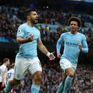 Record-equalling Sergio Aguero helped Manchester City to another victory