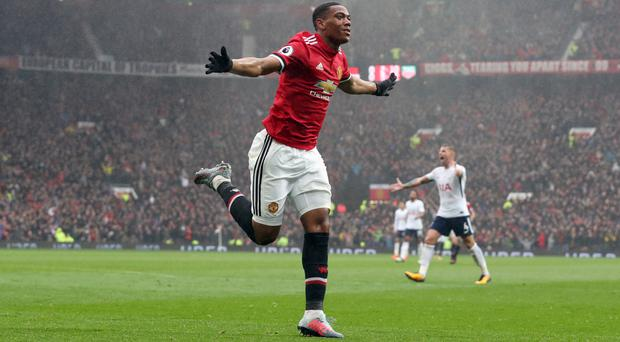Anthony Martial celebrates his winner
