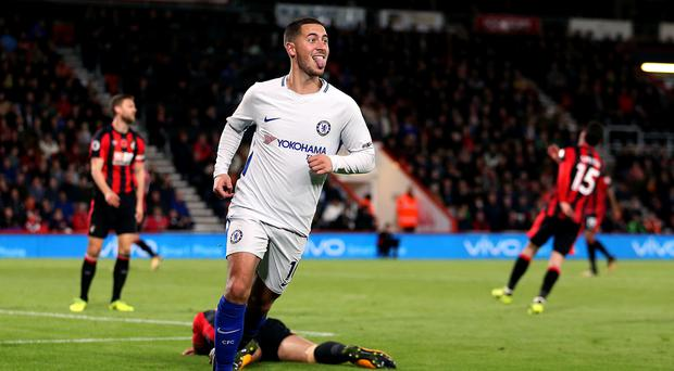 Eden Hazard celebrates after scoring against Bournemouth once again