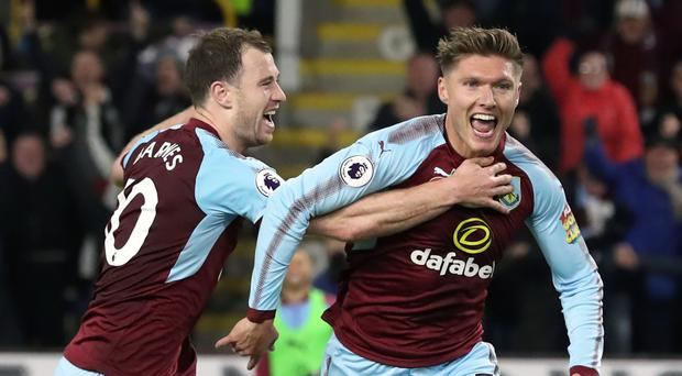 Jeff Hendrick, right, celebrates his goal with Ashley Barnes