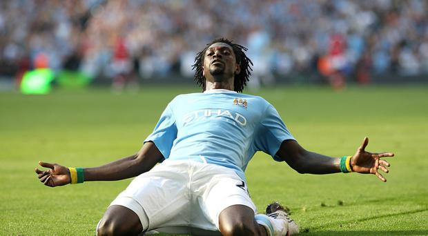 Manchester City's Emmanuel Adebayor celebrated scoring in front of the Arsenal fans in September 2009