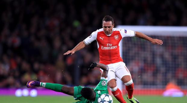 Santi Cazorla (right) has not played for Arsenal since the win over Ludogorets in October 2016.
