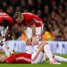 Manchester United's Marcos Rojo suffered a knee ligament injury in April
