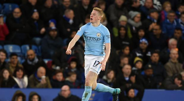 Manchester City midfielder Kevin De Bruyne celebrates his goal against Leicester