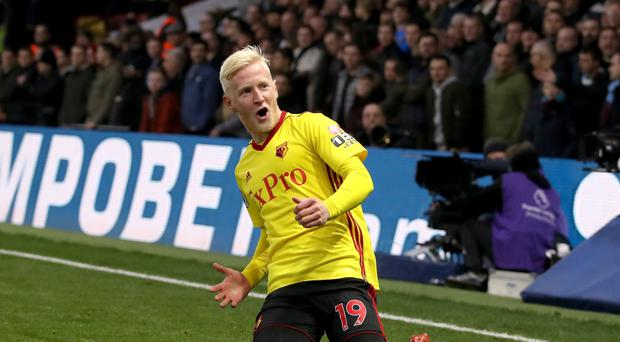 Watford's Will Hughes celebrates his opening goal in the win against West Ham
