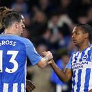Jose Izquierdo, right, celebrates with fellow Brighton goalscorer Pascal Gross