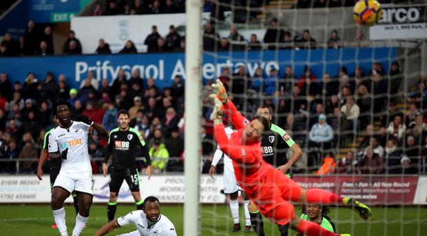 Swansea's Wilfried Bony scores before having the goal disallowed during the Premier League match against Bournemouth.