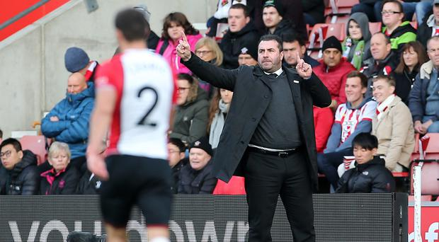Everton caretaker manager David Unsworth on the touchline during the Premier League match at St Mary's, Southampton.