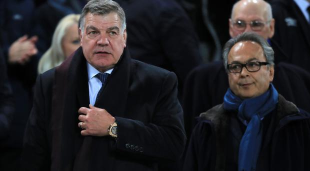 Sam Allardyce, left, and Farhad Moshiri watched Everton's victory over West Ham together
