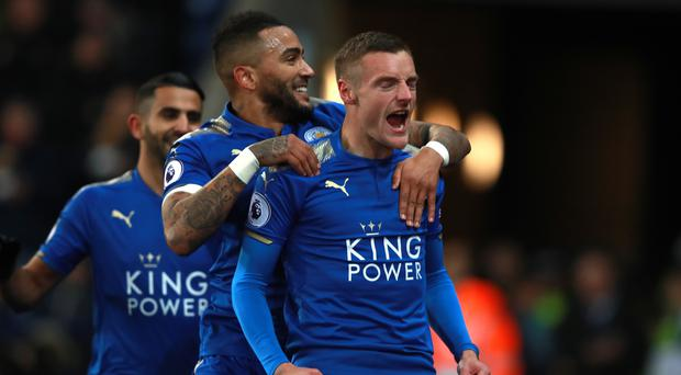 Leicester's Jamie Vardy (right).