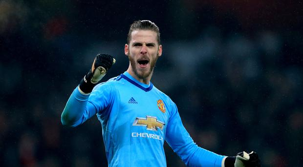 Manchester United goalkeeper David De Gea celebrates after the final whistle
