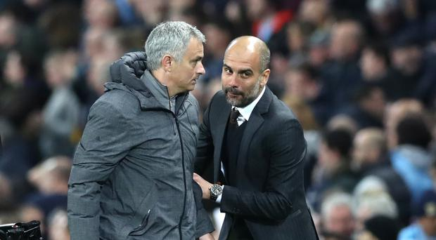 Manchester United manager Jose Mourinho (left) and Manchester City counterpart Pep Guardiola meet on Sunday
