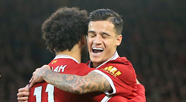 Mohamed Salah, left, and Philippe Coutinho are both hot in Fantasy Football