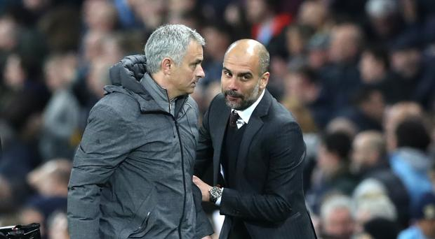 Jose Mourinho (left) and Manchester City manager Pep Guardiola go head to head on Sunday