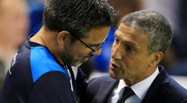 Brighton manager Chris Hughton (right) will go head to head with Huddersfield boss David Wagner (left) again, but this time in the Premier League
