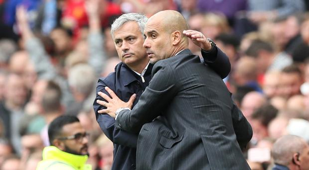 Jose Mourinho, left, and Manchester City manager Pep Guardiola go head to head on Sunday