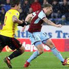 Scott Arfield, right, scores Burnley's winner