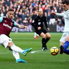 Marko Arnautovic scored his first West Ham goal against Chelsea