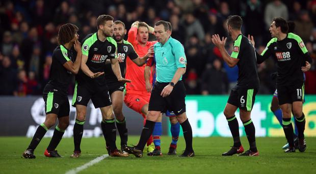 Bournemouth players were unhappy with the penalties awarded against them at Selhurst Park