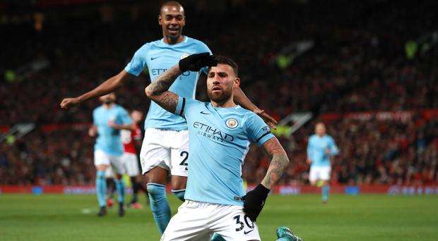 Nicolas Otamendi, right, volleyed home a second-half winner