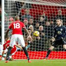 Nicolas Otamendi, left, grabbed the winner as Manchester City beat rivals Manchester United 2-1 at Old Trafford