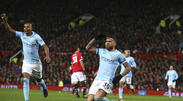Nicolas Otamendi scored the winner for Ciy in the Manchester derby