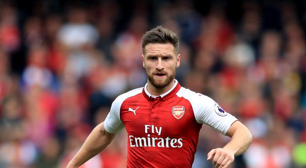Shkodran Mustafi will miss Arsenal's trip to West Ham because of injury