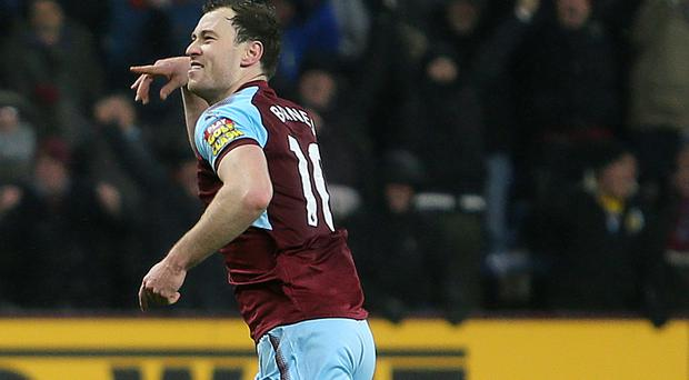 Burnley striker Ashley Barnes celebrates his winner against Stoke