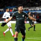Manchester City's Sergio Aguero celebrates scoring his side's fourth goal against Swansea